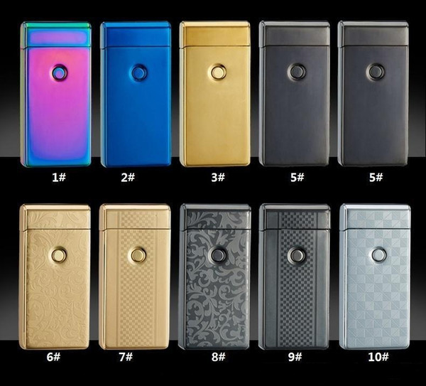 Double fire cross twin arc pulse Electronic Cigarette lighter electric arc gold colorful charge usb lighters Including retail packaging b238