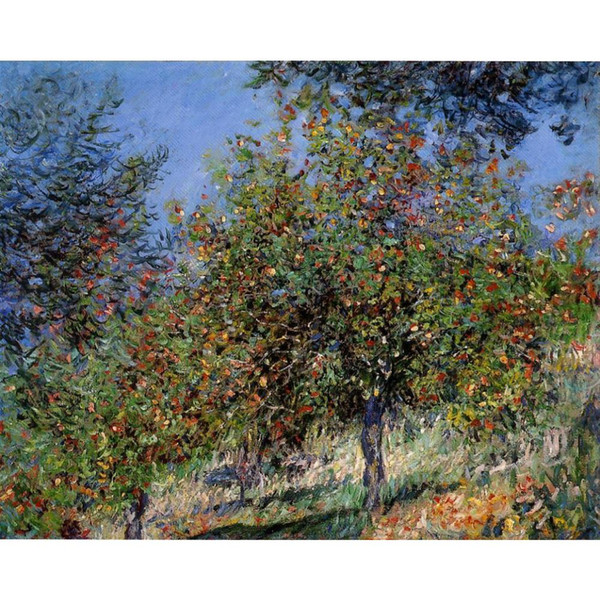Claude Monet Oil painting reproduction Apple Trees on the Chantemesle Hill impressionist artwork for wall decor