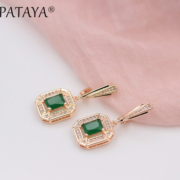 wholesale New 585 Rose Gold 10 Colors Dangle Earrings For Women Square Natural Zircon Long Earring Fashion Wedding Jewelry brinco