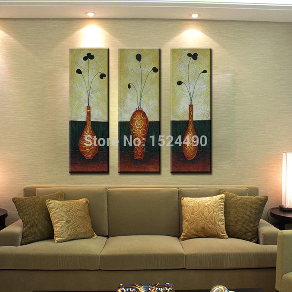 3Pcs/set combination Hand-painted modern wall art home decoration abstract yellow flower vase oil painting on canvas