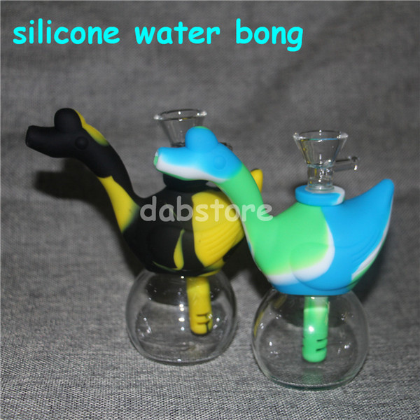 Swan Shape Silicone Water Pipe Food-Grade Silicone Dab Rig Portable Oil Rigs Silicone Blunt Bubbler Water Bongs Travel Bong