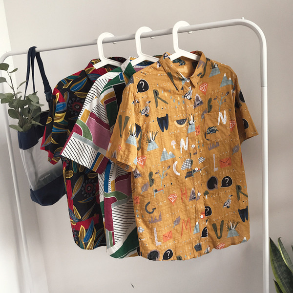 2018 Men's Fashion High-quality Cotton Clothes Loose Brand Flower Colour Shirts Short Sleeves Hawaiian Shirts Plus Size M-XL