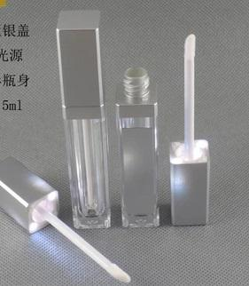 500pcs / lot DHL liberan la botella ligera del lustre del labio del envío LED con el espejo en una cara