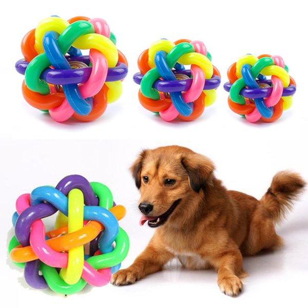Pet sound toys rainbow knitting colorful Small bells ball environmental protection puzzle toys Training Cat and Dog Essential