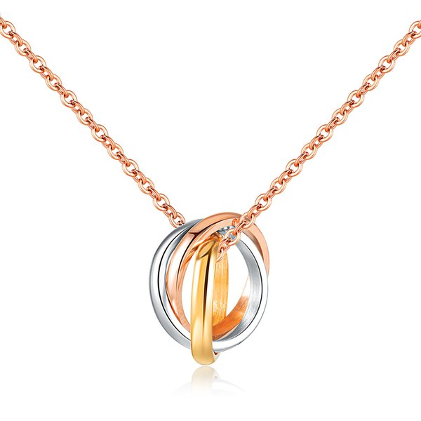 Rose Gold Color Fashion Lover's Three Rings Pendant Necklace Stainless Steel Link Chain Necklace Jewelry Gift for Girl Women 1265