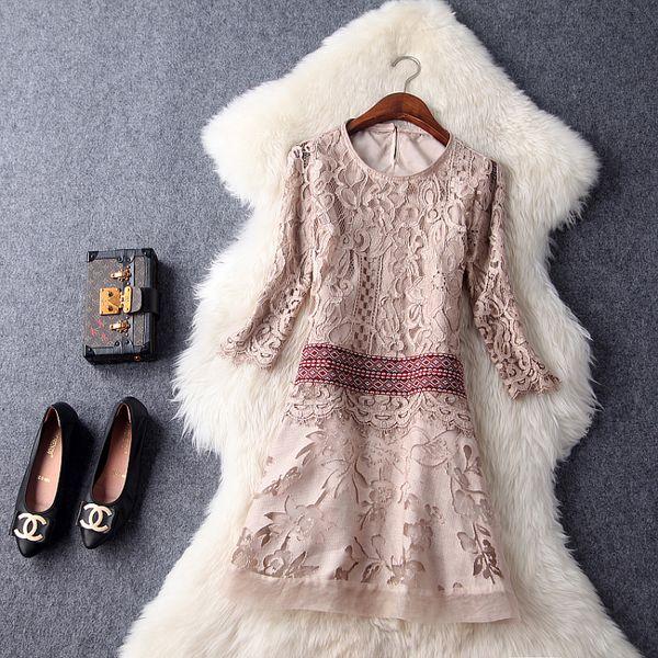 Spring Summer Runway Designer Womans Dresses Khaki Gray Silk Cotton Dress Lace Top Hollow Out Flower Pattern Bottom Cute Dress Evening Dresses Ladies