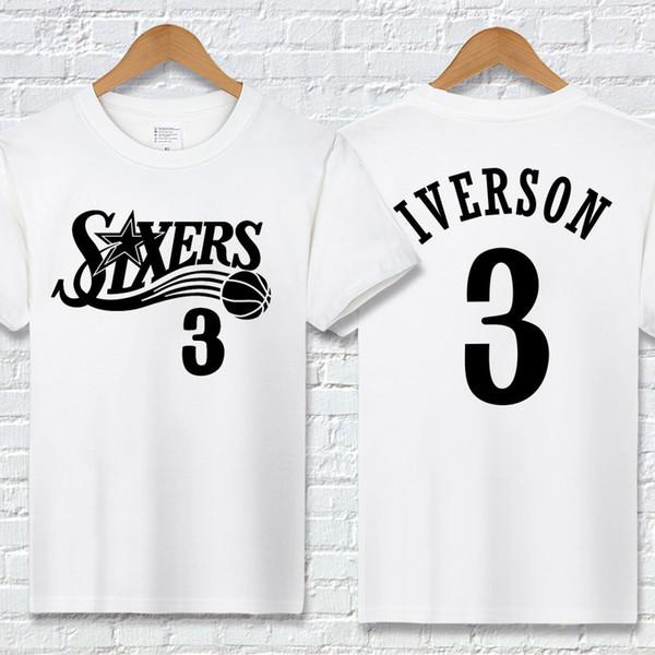 Nuevo Equipo de baloncesto de verano Camiseta para hombre Camiseta de diseñador Camiseta para hombre Iverson 76 Impresión de letras Camisas casuales Manga corta activa