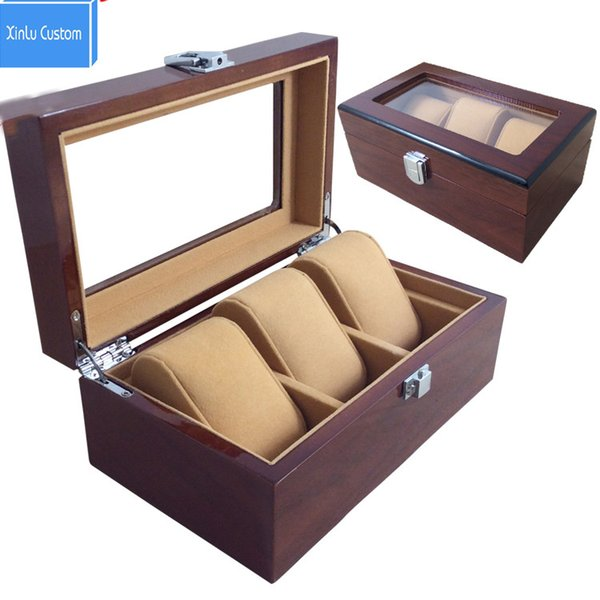 3 Grids Wooden Watches Display Box Jewelry Storage Organizer Brown Case with Pillow Collections Holder Watch Boxes Custom Personal CASE Time