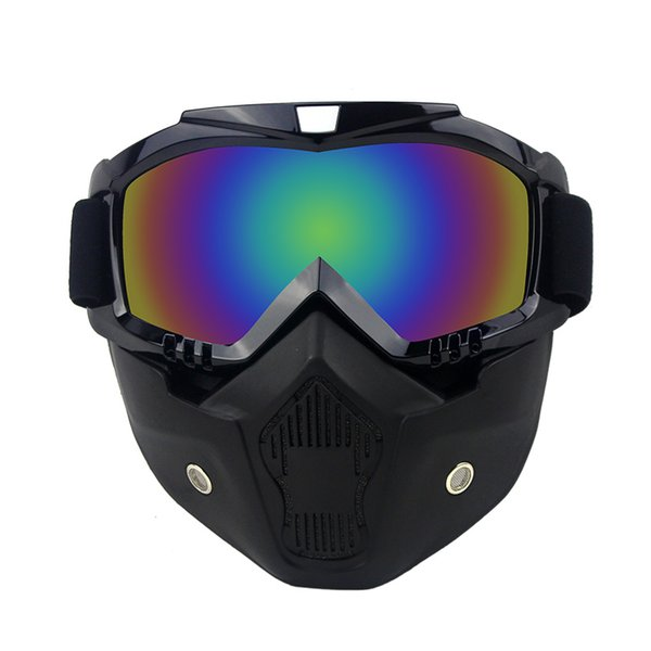 Modular Mask Detachable Goggles And Mouth Filter Perfect for Open Face Motorcycle Half Helmet or Vintage Helmets