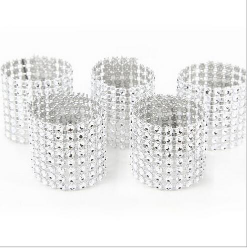 Cheap 10Pcs/Lot Plastic diamond package napkin ring napkin buckle hotel wedding supplies home decoration