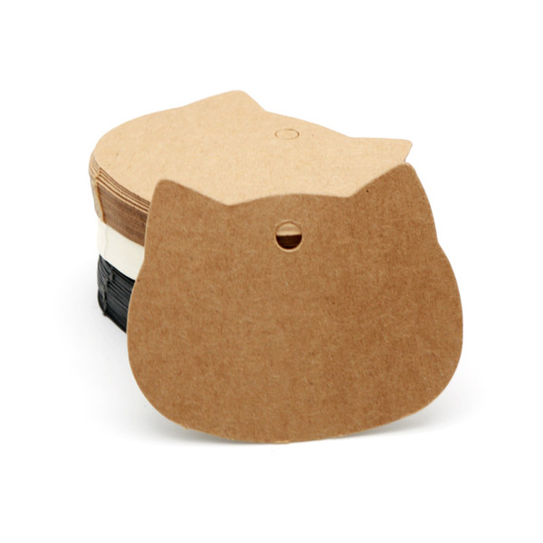 best selling Packaging Label 100pcs lot 6.5x5.5cm Cat Head Kraft  Black White Paper Tags Wedding Gift Decorating Tag Can Custom Logo