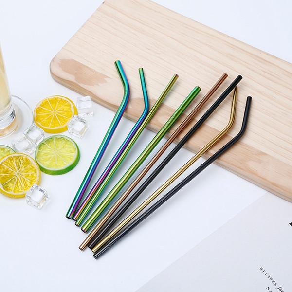 2018 pailles réutilisables colorées d'acier inoxydable 8.5inch droites piquées à boire en métal or noir or rose pailles d'arc-en-ciel pour des pots de maçon