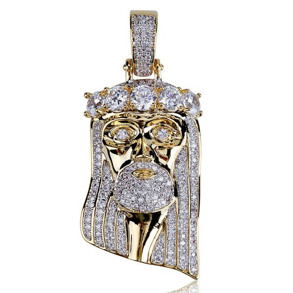 Topfashionqueen Factory Price Hip Hop Jesus Pendant Necklace CZ Iced Out Hip Hop Bijoux Rapper Bling Collar Micro Paved Jewelry Accessories