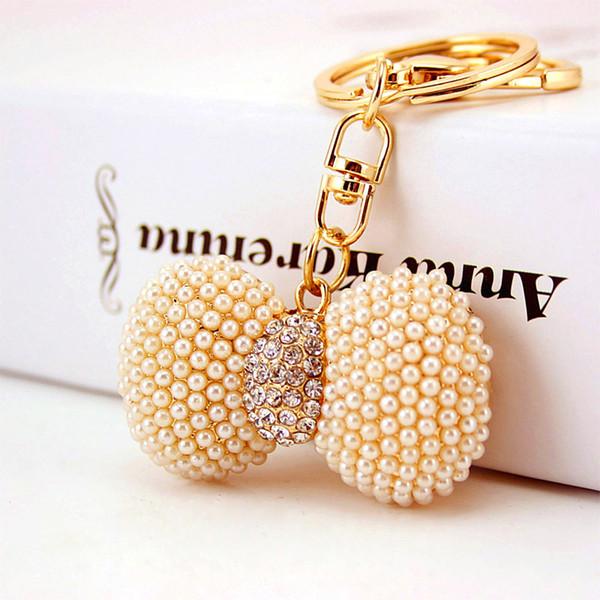 Llavero de perlas de imitación con lazo - Bolso para mujer Bolso colgante Llavero Regalos de fiesta - Favores de boda Llaveros