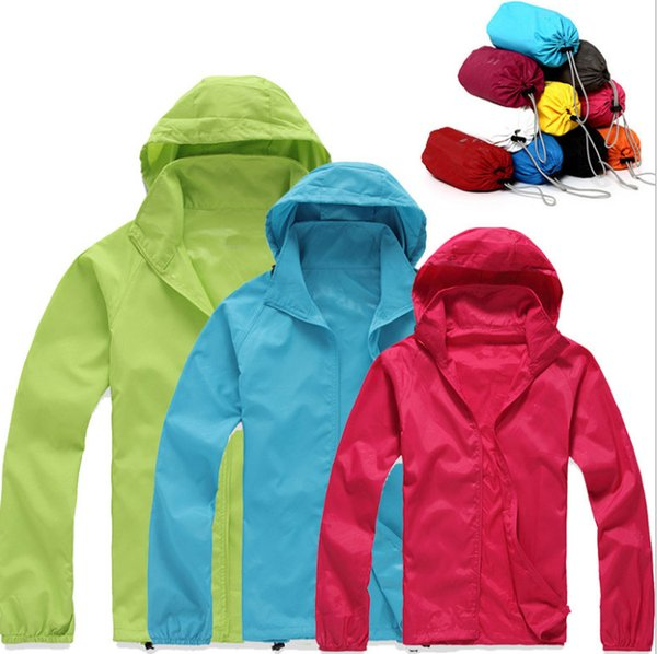 New Summer Womens Mens Brand Rain Jacket Coats Outdoor Casual Hoodies Windproof and Waterproof Sunscreen Face Coats Black White XS-XXXL