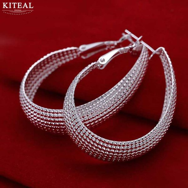 whole saleKiteal hoop earings BIG Silver Fashion Silver Jewelry Flat big round egg shell U web Net Earrings large size wholesale