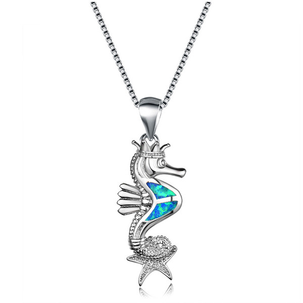 Bamos Seahorse Star Pendants Necklaces 925 Sterling Silver Filled White/Blue/Purple Fire Opal Long Necklace Chain For Women