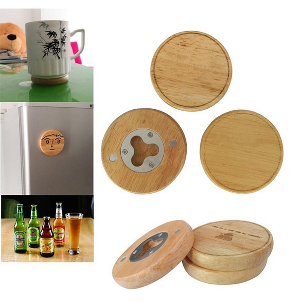Wooden Round Shape Bottle Opener Coaster Fridge Magnet Decoration Beer Bottle Opener With Your Logo for HOME