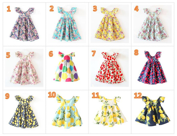 best selling INS Cherry lemon Cotton Backless DRESS girls floral beach dress cute baby summer backless halter dress kids vintage flower 12colors BY0106