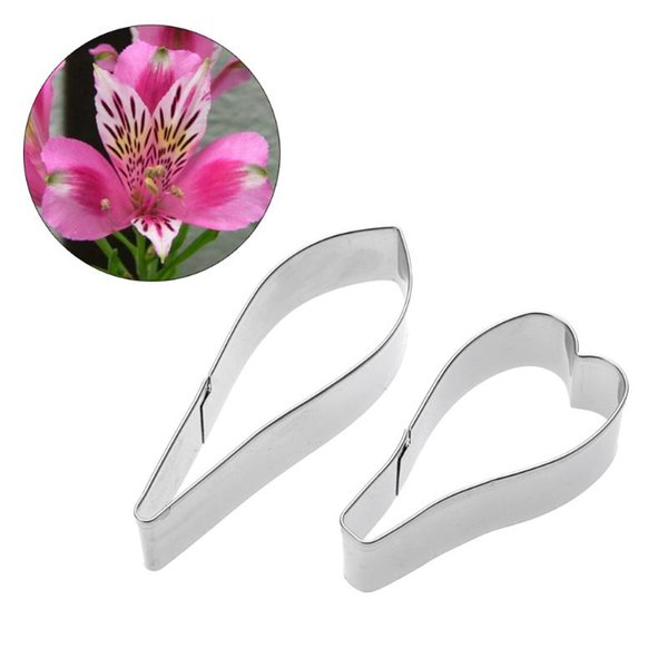 2Pcs Peruvian lily Flower Mold Cupcake Fondant Mold Cake Decorating Tool Sugar Paste Christmas Soap Cookie Cutter Baking Mould