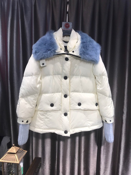 best selling Women Winter Jacket Ladies Real Fox Fur Collar Duck Down Inside Warm Coat Femme With All The Tag And Label 813