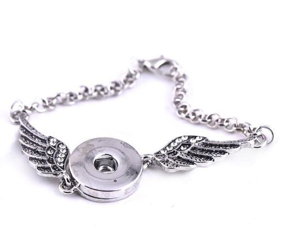 Angel Wings Bracelets Bangles Antique Silver DIY Ginger Snaps Button Jewelry 2017 New Style Bracelets for Women