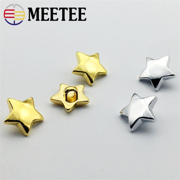 top popular 200pcs 15mm High-grade UV electroplating stars plastic buttons Gold silver pentacle buttons shirt DIY decorate accessories ZK730 2019