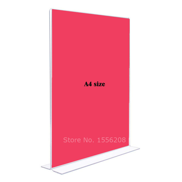 New A4 double sided acrylic frame fashion plexiglass photo holder creative perspex gift desk tabletop sign lable holder rack 3mm