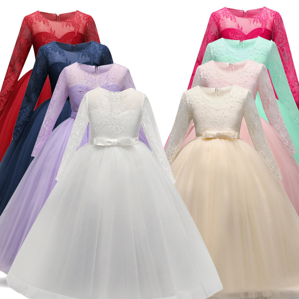 New Long Fancy Flower Girls Dress For Wedding and Party Dress Kids Bridesmaid Princess Dress Children Teenage Girls Clothing 5-14 Year