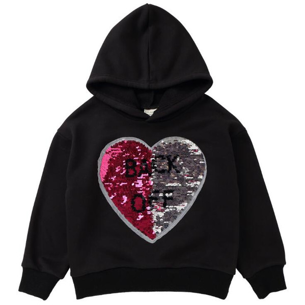 Reversible Sequins Baby Girls Hoodies Clothes Children Sequins Heart Dog Discoloration Sweaters Children Reverse Girls Outerwear Kids Jacket