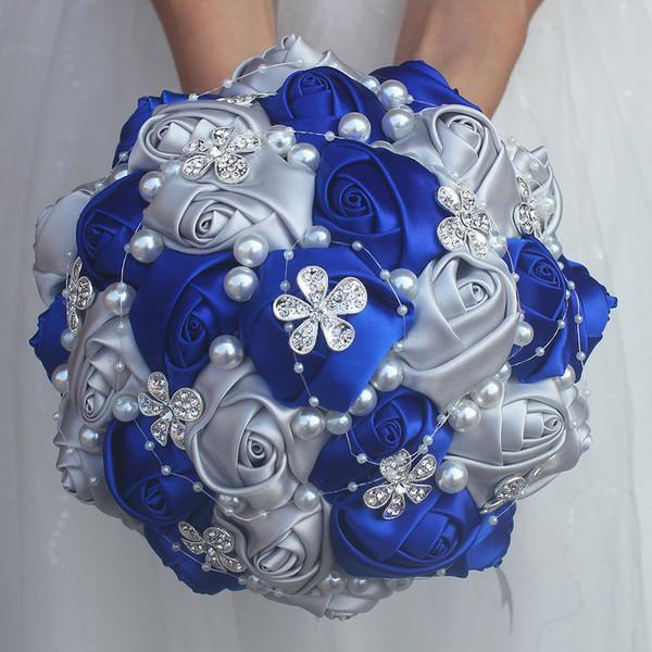Royal Blue Gümüş Gül Gelinlik Köpük çiçek buketi Gül Gelin buketi Kurdele Sahte Düğün buket Özelleştirilmiş w224