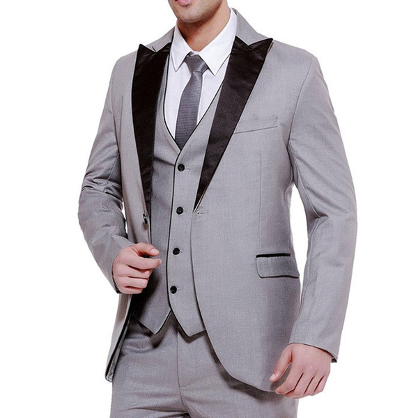Three Piece Gray Business Party Men Suits Groom Wear 2018 Classic Black Peaked Lapel Wedding Groom Tuxedos (Jacket + Vest+Pants)