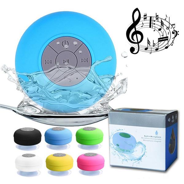 Mini Subwoofer portátil chuveiro Waterproof sem fio Bluetooth Speaker Car Handsfree Receba Call Music sucção Mic para o telefone