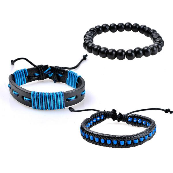 Modeschmuck Perle Lederarmband Männer Casual Persönlichkeit PU Woven Perlen Armband Vintage Punk Armband für Männer Frauen drop ship 320101