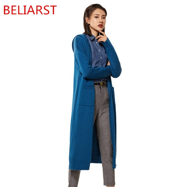 BELIARST Autumn and Winter New Wool Knit Jacket Long Section Knee Hooded No Buckle Cardigan Wild Loose Cashmere Sweater Woman