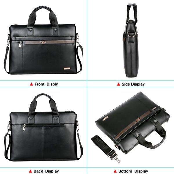 Compre VICUNA POLO Top Sell Fashion Simple Dot Marca Famosa Hombres De Negocios Maletín Bolsa De Cuero Bolsa De Ordenador Portátil Bolsa De Hombre