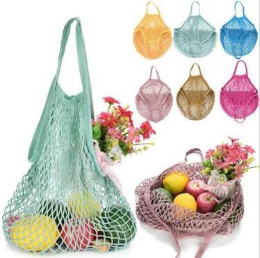 best selling Mesh Net Shopping Bags Fruits Vegetable Portable Foldable Cotton String Reusable Turtle Bags Tote for Kitchen Sundries CCA9849 60pcs