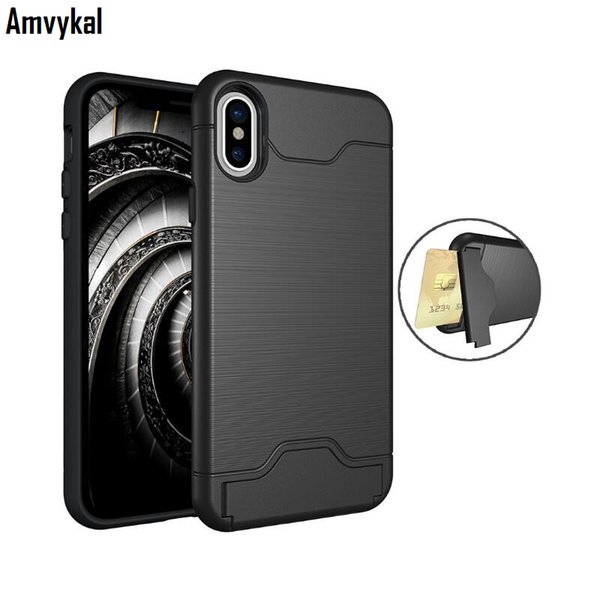 Amvykal For iphone X 6s 7 8 Plus Case Card Pocket Hard PC+Soft TPU 2 in 1 Armor Heavy Duty Protection Kickstand Cover
