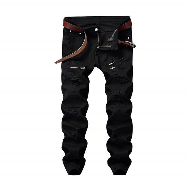 Newsosoo New Mens Hi Street Ripped Jeans Pantalones Destruido Denim Joggers con Cremallera Multi Elástico Puño Elástico Negro Blanco