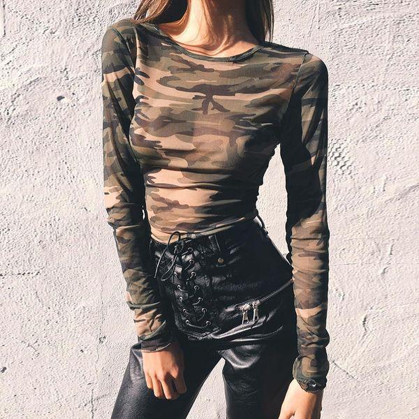 Hot New 2018 été automne Femmes À Manches Longues Sexy Camo Top Sheer T Shirts Transparent Punk Club Streetwear Tees Plage Tops FS5716