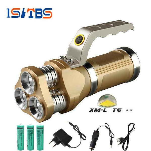 Powerful Portable LED Flashlight 3 CREE T6 12000LM 5 Modes Torch Powerful Camping Hunting Miner's Lamp Torch Flashlight