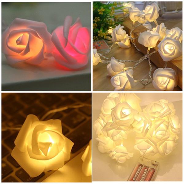 O Natal QUENTE da flor de 2.5M Rosa conduziu a lâmpada conduzida a pilhas das luzes da corda para a decoração do casamento do Valentim