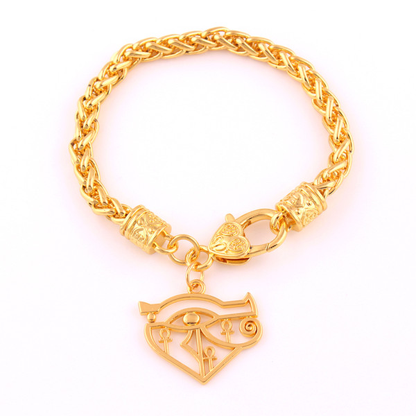 Gold Color Egyptian Eye Of Horus Bracelet Hieroglyph Charm Pendant Religious Wheat Link Chain Bracelet Jewelry