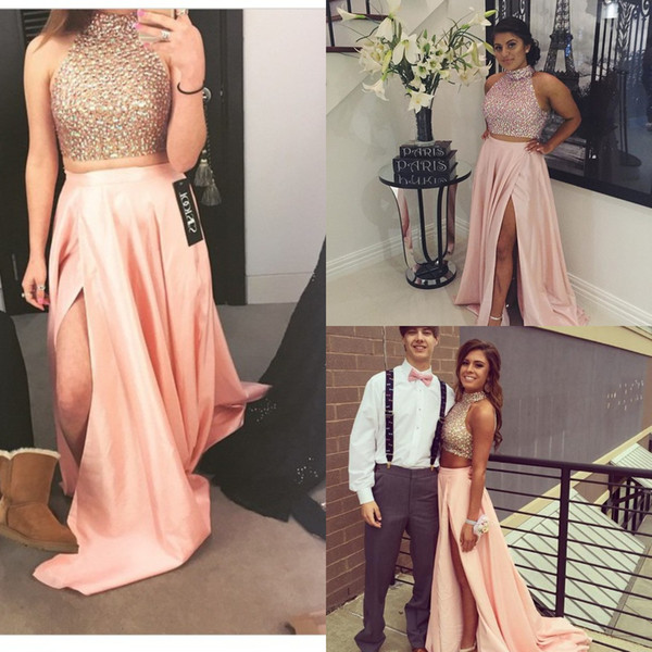 Cute Pink Two Piece Prom Dresses Long Sexy Crop Top Beaded Elegant Formal Evening Dress Keyhole Back Pretty Party Gown With Slit teen