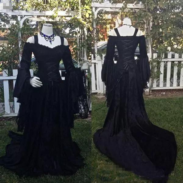 Vestidos De Casamento Do Laço Gótico Do Vintage Preto Uma Linha Medieval Fora Do Ombro Correias Mangas Compridas Vestidos de Noiva Vestidos Vitorianos Espartilho