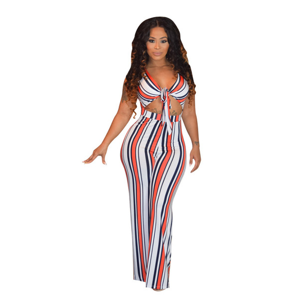 125a6c7d41b3 Sexy V-Neck Lace Up Jumpsuits Rompers Women Sleeveless Hole Striped Wide  Leg Pants Jumpsuit Overalls 2018 Summer Casual Rompers