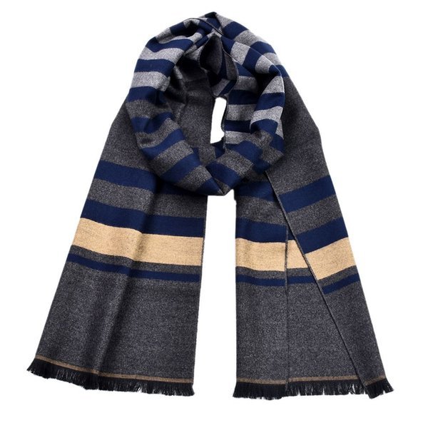 1 Pc Double-sided Striped Tassels Shawl Scarf Men Winter Cotton Warm Muffler Scarf for Men