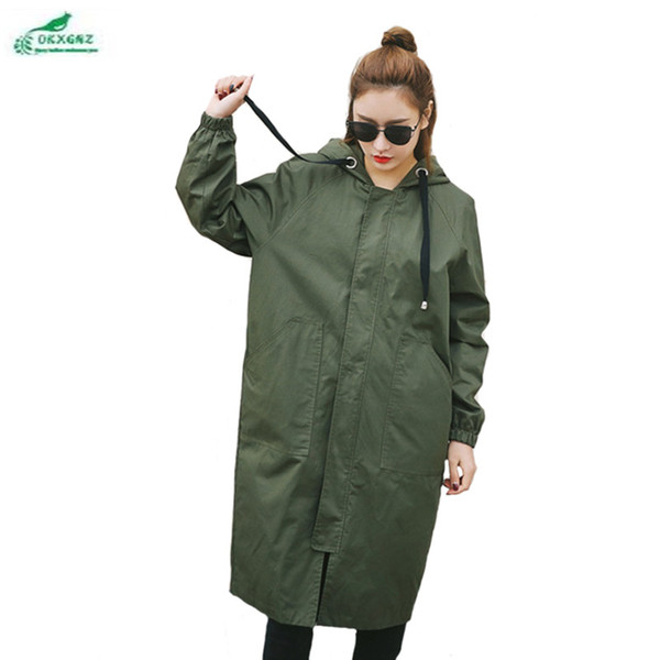 0KXGNZ Nova Primavera Mulheres Trench Coat 2017 Longo Lazer Com Capuz Exército Verde Casaco Zíper Solto Outwear Plus Size Trench HY22