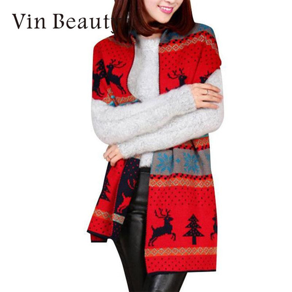 Women Fashion Double Faced Knited Deer Comfortable Long Scarf Muffler Wrap