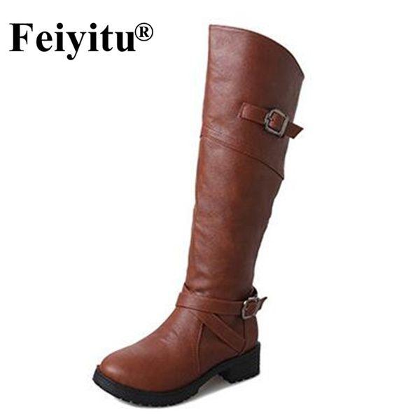Feiyitu Women's Winter Shoes Knee High Boots High Quality Brand Women Shoes Buckle Women Boots Unky Heels Botas Eu 35-43 Black